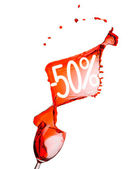 Red wine splash. 50 percent Sale Discount. Isolated on white ba — Stock Photo
