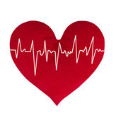 Red heart with cardiogram on white background — Stok fotoğraf