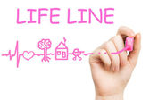 Life line, pink marker — Stock Photo