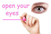 Open your eyes, pink marker — Stockfoto