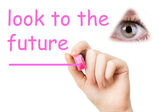 Look to the future, pink marker — Stock Photo