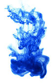 Blue ink in water on white background — Foto de Stock