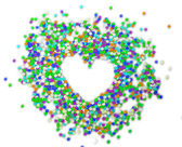 Confetti background in the form of heart — ストック写真