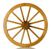 Roda de madeira sobre um fundo branco — Fotografia Stock