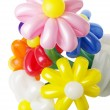 Bouquet with colorful balloon flowers on the white background — Stock Photo