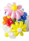 Bouquet with colorful balloon flowers on the white background — Photo