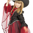 Pretty little girl in pirate costume on the white background — Stock Photo