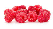 Juicy raspberries on the white background — Stock Photo