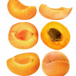 Set of ripe apricots isolated on the white background — Stock Photo #49176937