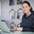 Proud Businesswoman At Home Office Using Laptop — Stock Photo
