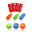 Stickers and sales tags — Stock Photo