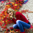 Woman with red and yellow leaves - autumn — Stock Photo