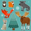 Winter forest animals — Stock Vector