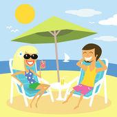 Vacances d'été plage — Vecteur