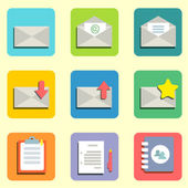Mail flat icons — Stock Vector