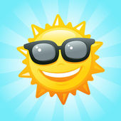Sun with sunglasses — Stock Vector