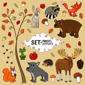 North forest animals — Stock Vector