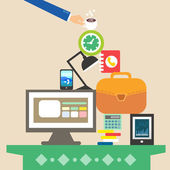 Workplace and business objects for hard work — Stock Vector