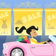 Girl shopping in car — Stock Vector