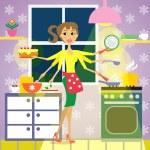 Kitchen woman cuisine — Stock Vector #35241331