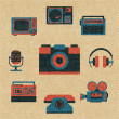 Vintage media icons — Stock Vector