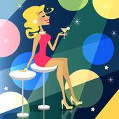 Girl in bar — Stock Vector