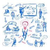 Doodle management — Stock Vector