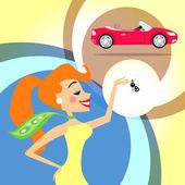 Woman with car keys — Stock Vector