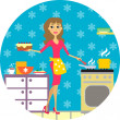 Woman cooks in kitchen — Stock Vector