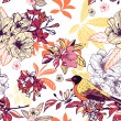 Seamless floral pattern with bird — Stock Vector