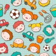 Seamless doodle kids background — Vettoriali Stock