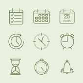 Contoured time and calendar icons — Stockvector