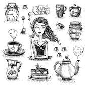 El amor de escena del té — Vector de stock