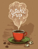Wake up coffee cup — Stock Vector