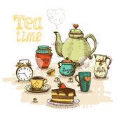Tea time still life — Stock Vector