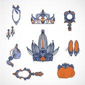 Princess accessories — Vector de stock