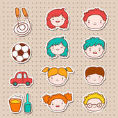Doodle kids faces icons — Stock Vector