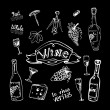 Wine set on chalkboard — Image vectorielle