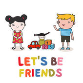 Kids friendship — Vector de stock