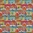 Winter houses seamless pattern — Stock Vector