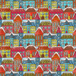 Winter houses seamless pattern — Stockvektor