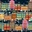Winter houses seamless night — Grafika wektorowa