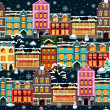 Winter houses seamless night — Imagen vectorial