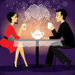 Dating couple scene, love confession — Imagen vectorial