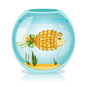 Goldfish in the bowl — Vector de stock