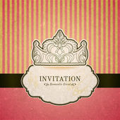 Princess invitation card with crown — Stock Vector