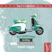 Hipster scooter poster — Stock vektor