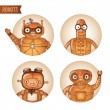 Stock Vector: Steampunk robots iconset