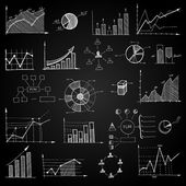 Chalk board doodle web charts — Stock Vector