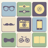 Hipster iconset — Stock Vector